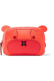 Anya Hindmarch Bear leather-trimmed shell cosmetics case