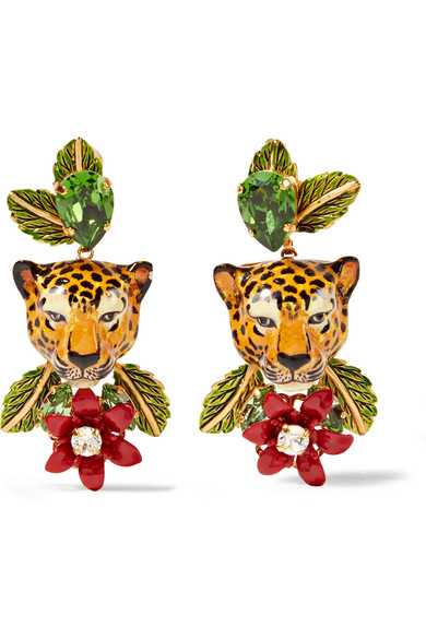 Dolce & Gabbana - Gold-tone, Enamel And Crystal Clip Earrings