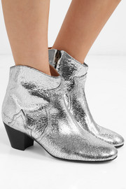 Dicker metallic cracked-leather ankle boots