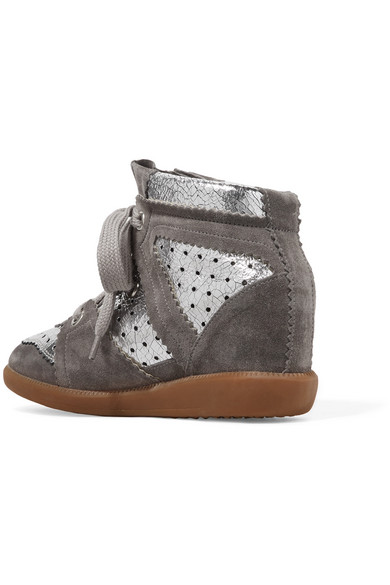 Bobby Perforated Metallic Leather And Suede Wedge Sneakers - Silver Isabel Marant uUrtDmZ