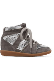 Isabel Marant Bobby perforated metallic leather and suede wedge sneakers