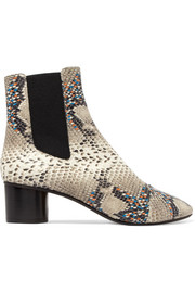 Isabel Marant Danelya python-effect leather ankle boots
