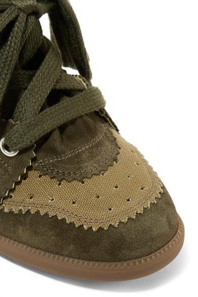 Isabel Marant Bobby Sneakers mit Keilabsatz aus Veloursleder und perforiertem Canvas