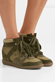 Isabel Marant Bobby perforated canvas and suede wedge sneakers