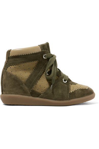 Isabel Marant - Bobby Perforated Canvas And Suede Wedge Sneakers - Army green