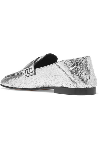 a3c2cd96dfa Isabel Marant. Fezzy metallic cracked-leather collapsible-heel loafers.  £146. Zoom In