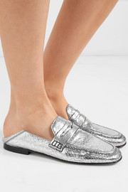 Fezzy collapsible-heel metallic cracked-leather loafers