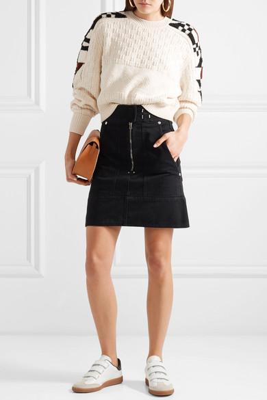 2dd5ebda85 Isabel Marant | Beth logo-print suede-trimmed leather sneakers | NET ...
