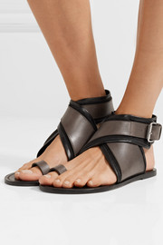 Johen leather and canvas sandals