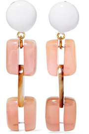 Marni Gold-tone resin clip earrings