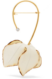 Marni Gold-tone, poplin and crystal brooch