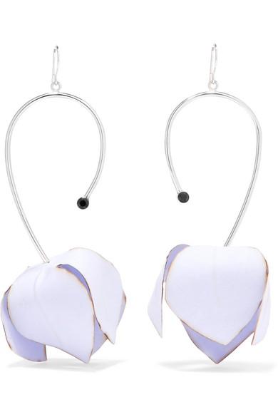 Marni - Silver-tone, Poplin And Crystal Earrings - Blue