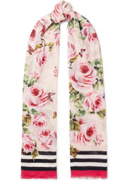 Dolce & Gabbana Printed modal and cashmere-blend voile scarf