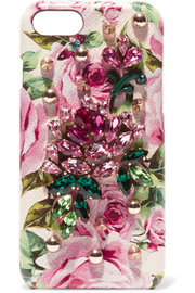 Embellished textured-leather iPhone 7 case