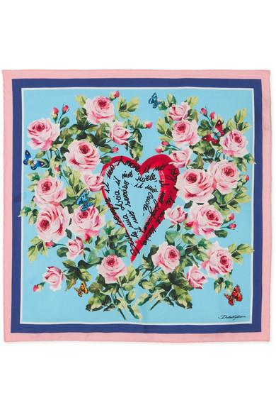 Dolce & Gabbana - Printed Silk-twill Scarf - Blue