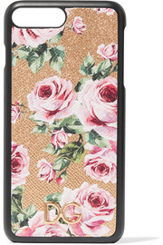 Floral-print textured-leather iPhone 7 Plus case