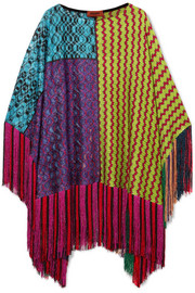 Fringed metallic crochet-knit poncho