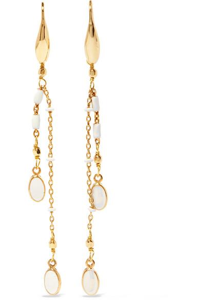 Gold-tone and enamel drop earrings