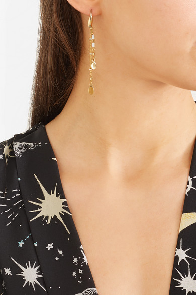Gold Tone Enamel Drop Earrings by Isabel Marant