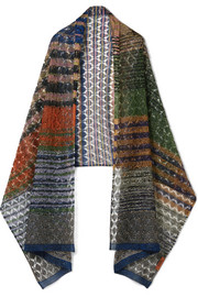 Metallic crochet-knit scarf