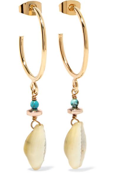 30cfe1d648 Isabel Marant | Gold-tone, bead and shell earrings | NET-A-PORTER.COM