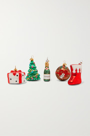 Little NAP Christmas set of five glass baubles