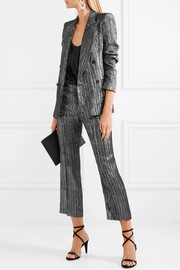 Isabel Marant Dansley cropped textured-lamé straight-leg pants