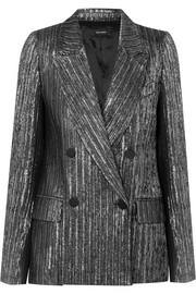 Denel double-breasted textured-lamé blazer