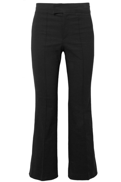 Woman Cotton-Blend Woven Bootcut Pants Black in 01Bk Black