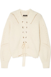 Isabel Marant Lacy lace-up pointelle-knit cotton-blend sweater