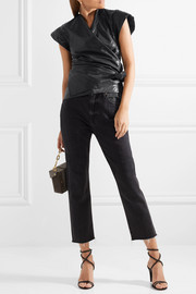 Isabel Marant Heather coated cotton and linen-blend wrap top