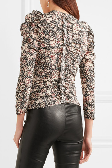 Isabellina Marant Bali Blouse Gathers From A Floral Printed Silk Blend With