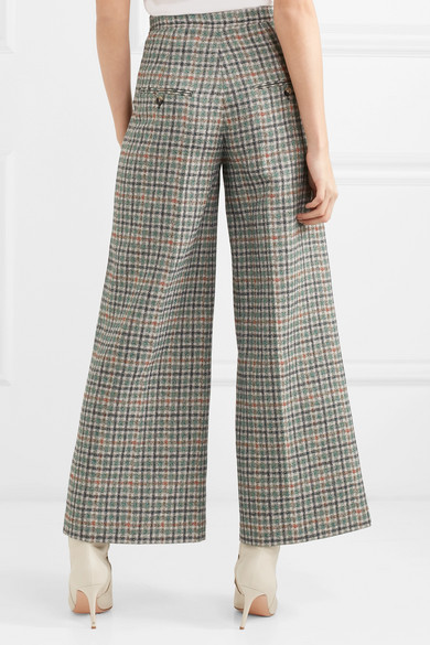 Isabel Marant Trevi Checkered Tweed Trouser Leg With Wide