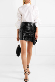 Isabel Marant Fresly ruffled patent textured-leather mini skirt