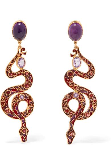 Percossi Papi - Gold-tone, Stone, Crystal And Enamel Earrings - Purple