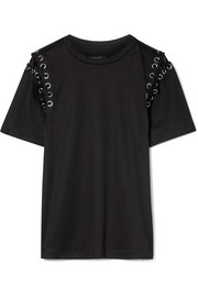 Yaden lace-up cotton and modal-blend T-shirt