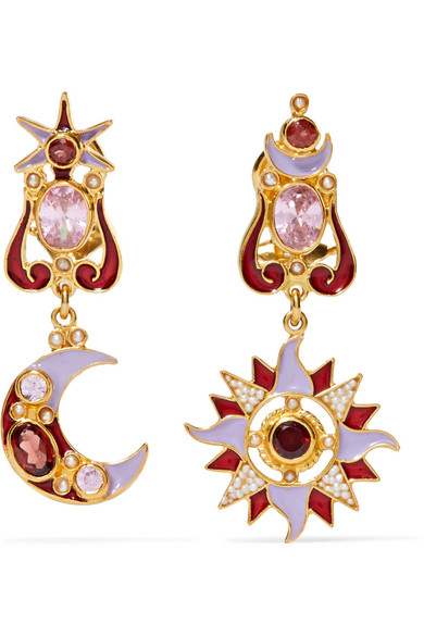 Percossi Papi - Gold-tone, Enamel, Pearl And Crystal Earrings - Red