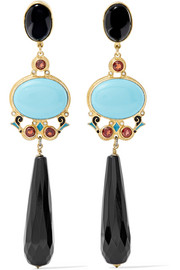 Percossi Papi Gold-tone, enamel and multi-stone earrings