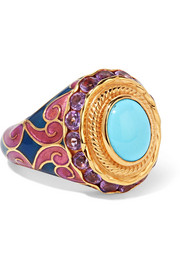 Percossi Papi Gold-tone, enamel, crystal and stone ring