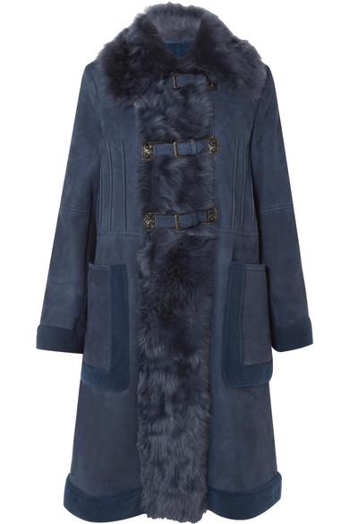 Bottega Veneta Mantel aus Veloursleder mit Shearling-Besatz