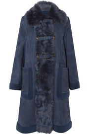 Bottega Veneta Shearling-trimmed suede coat