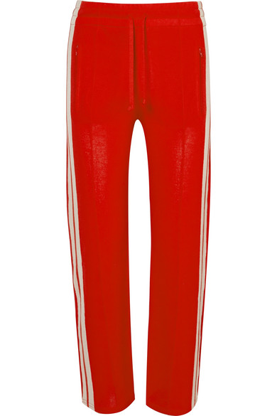 ETOILE ISABEL MARANT Red Knitted Doriann Pants With Drawstring At Waist, White Contrast Stripes And Elastic Band Under Th