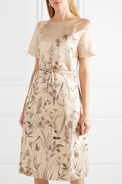 Bottega Veneta Bedrucktes Kleid aus Duchesse-Satin