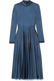 Bottega Veneta Swarovski crystal-embellished pleated satin dress