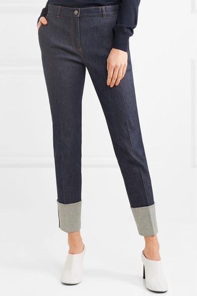 Bottega Veneta Hoch sitzende Jeans mit geradem Bein und Lederbesatz