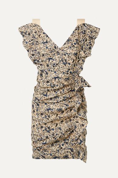 Isabel Marant Étoile Topaz Minikleid aus bedrucktem Leinen mit Rüschen