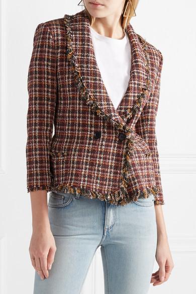 Isabel Marant Étoile Nicole Jacke aus Tweed aus einer Baumwollmischung mit Fransen