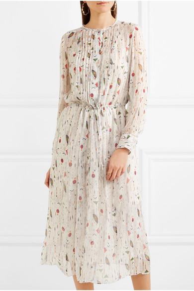 Isabel Marant Étoile Baphir Kleid aus Seidenkrepon mit Print und Biesen