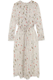 Baphir pleated printed silk-crepon dress