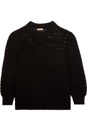 Bottega Veneta Crochet-paneled ribbed cotton sweater